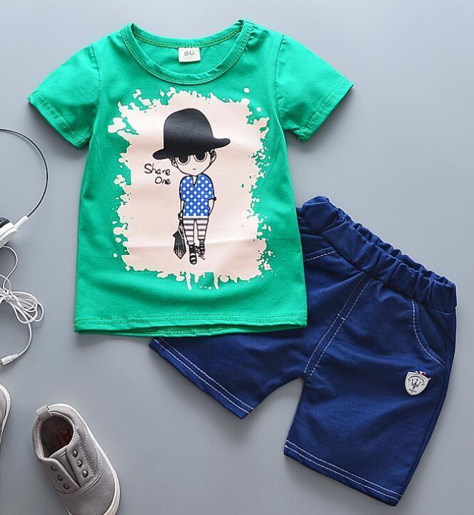 dce71e36dbed good quality newborn sport suits hot sale Baby boy clothes Brand summer  kids clothes sets tshirt+short suit cartoon Printed Clothes