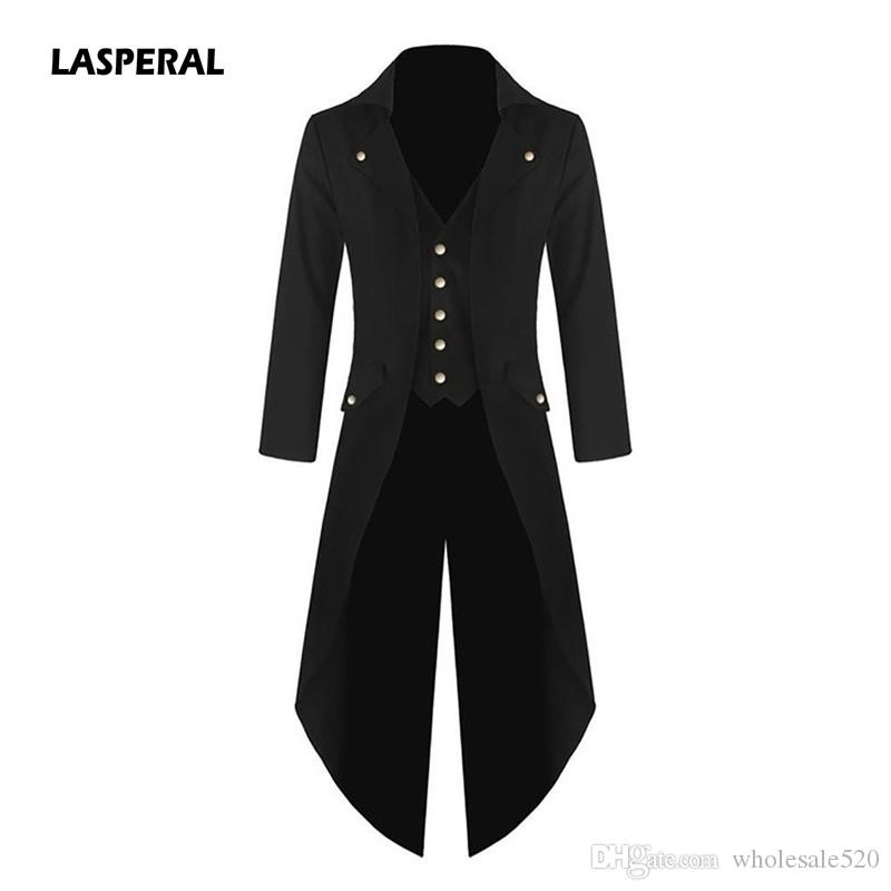 LASPERAL Men's Coat Jacket Solid Punk Retro Tuxedo Male Tailcoat Suits 2018 Autumn Winter Windbreaker Long Blazer Plus Size 4XL