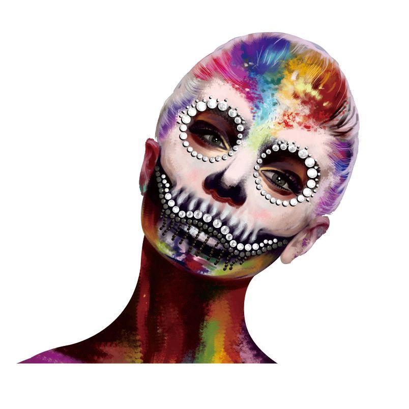HFG09 Big Mouth Clown Inspired Face Gem Sticker Body Paint