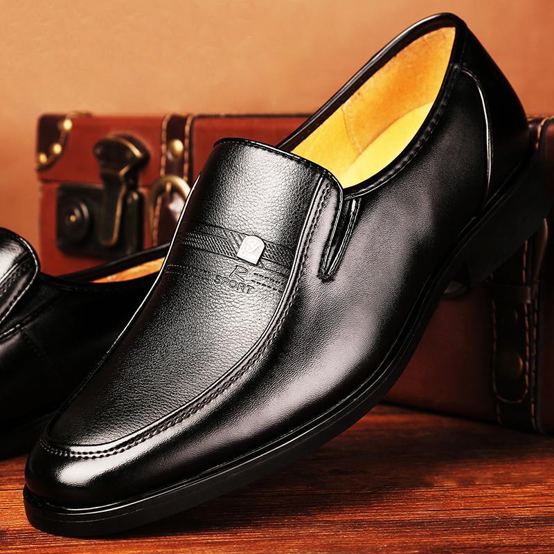 015d8684a Compre Mazefeng Primavera Outono Sapatos Masculinos De Couro Homens Sapatos  De Vestido De Negócios Clássico Quadrado Toe Homens De Couro Formal Calçado  Slip ...