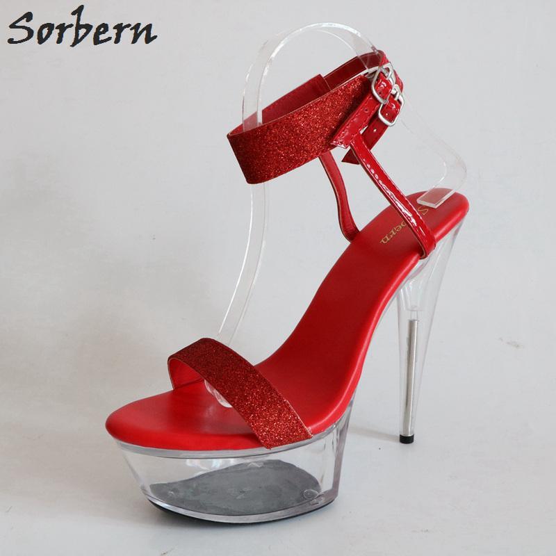 Wholesale Red Bling Ankle Strap Night Club Footwear Slingbacks Sandals  Platform Transparent Heels Perspex High Heels Sandals Women Mens Sandals  Reef Sandals ...