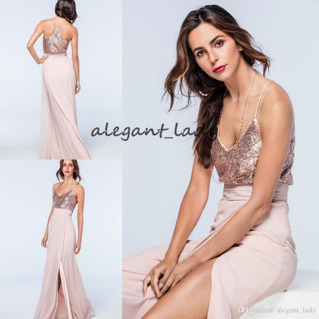 af31df2351 Long Blush Bridesmaid Dresses Top Rose Gold Sequin V Neck Spaghetti Straps  Wedding Guest Gowns Sexy Side Split Chiffon Maids Champagne Colored  Bridesmaid ...