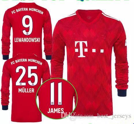 2978eb1711 2018 2019 JAMES Manga Larga Bayern Munich Soccer Jersey NEUER LEWANDOWSKI  MULLER ROBBEN BOATENG TOLISSO Portero 18 19 Camisetas De Fútbol Por  Best jerseys