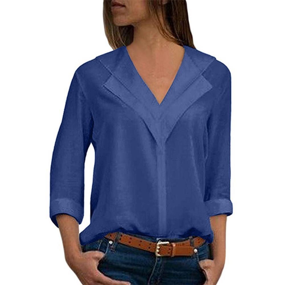 best loved 9e736 d23d8 Camicette da donna Camicie da ragazza a maniche lunghe in solido Camicie a  maniche lunghe da donna in chiffon solido con maniche lunghe da ufficio