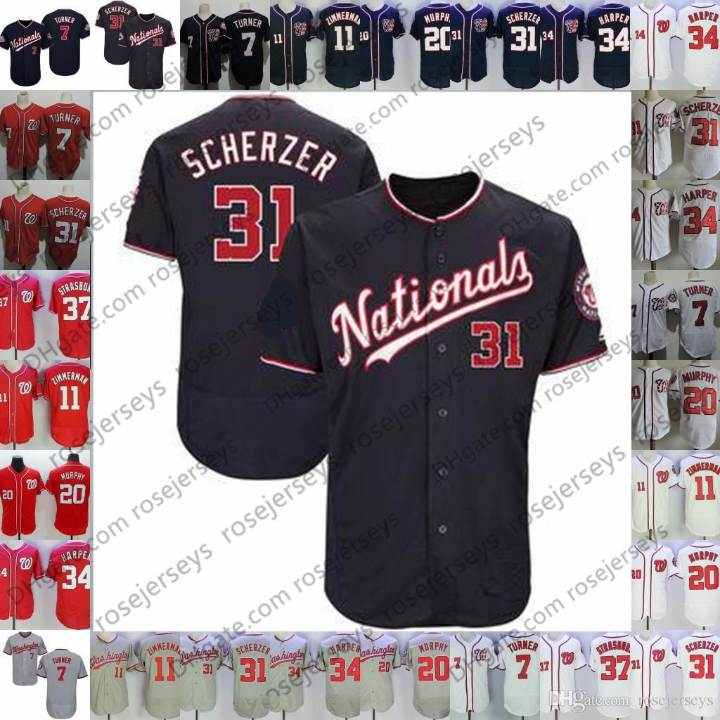 purchase cheap d4082 549f0 Custom Nationals Jersey New Washington #7 Trea Turner 11 Ryan Zimmerman 31  Max Scherzer 37 Stephen Strasburg 63 Sean Doolittle 2 Adam Eaton