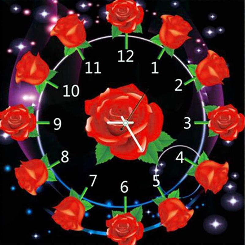 Acheter Tableau Fleur 5d Diy Plein Diamant Peinture Horloge Rose 3d