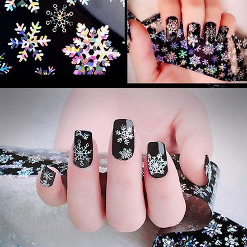 2 sheets Christmas Snowflake Holographic Nail Foils Christmas Winter Nail  Art Transfer Foil Sticker Paper Craft Decoration