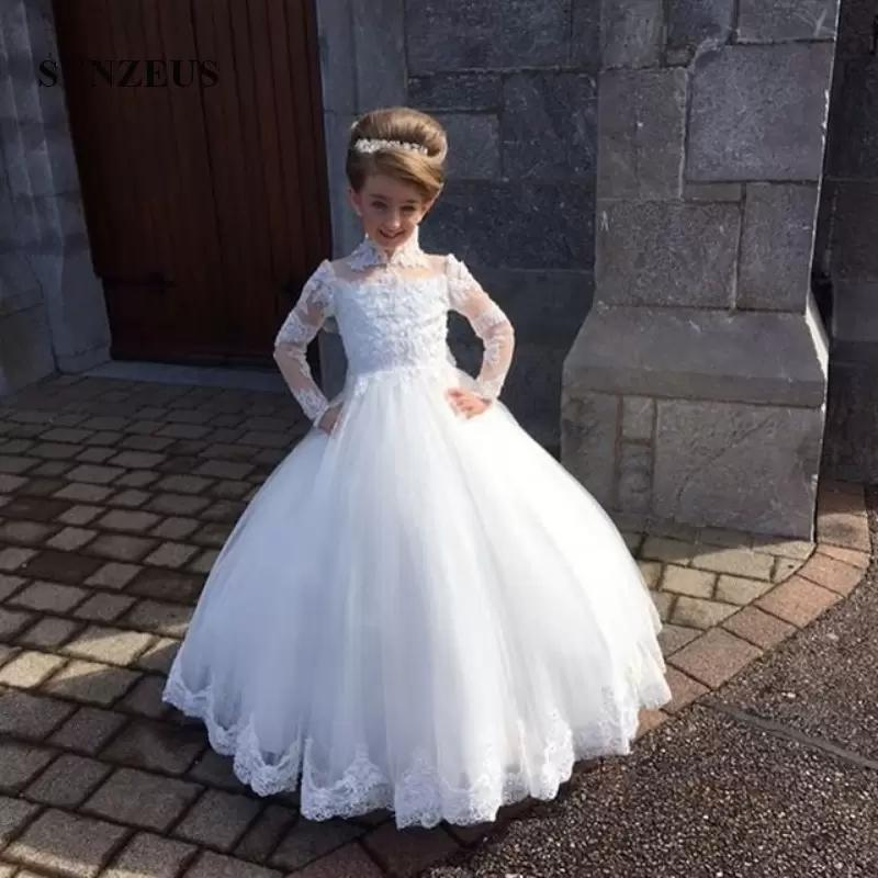 White Ivory Lace Ball Gown Kids TUTU Flower Girl Dresses Long Sleeve Party  Prom Princess Bridesmaid Wedding Formal Occasion Dress 167 Girl Dresses For  ... fce77d0dfe83