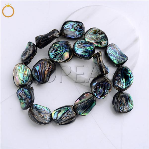 HOPEARL Jewelry Natural Abalone Shell Semi Precious Gemstone Strand DIY Loose Paua Beads Freeform Irregular Shape