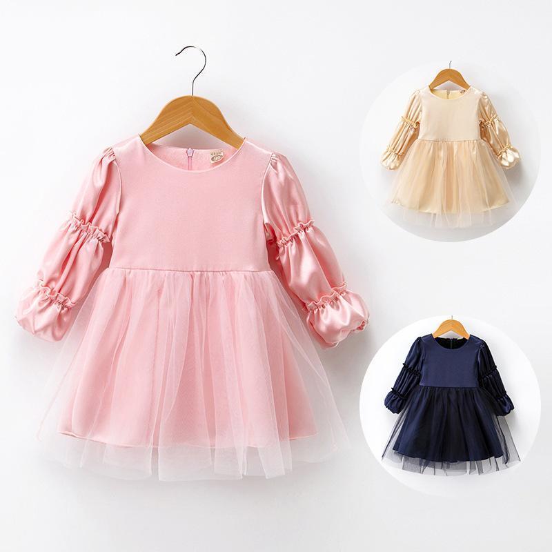 d0133ca2f47c5 Acheter Bonne Qualité 2019 Bébé Robes Maille Robe O Cou Puff Manches Fête  Robes De Soirée Enfants Robe Pour Filles Princesse Robe Bébé Enfant Fille  ...