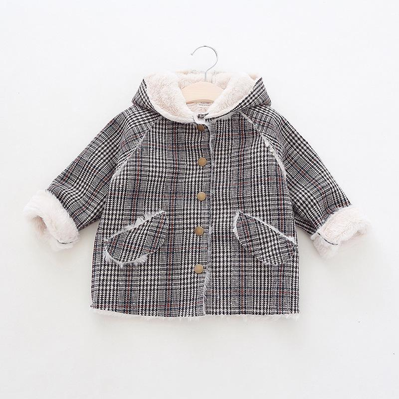 b9a1a3d52f73 Girls Cute Plaid Jacket Baby Infant Autumn Winter Hooded Coat ...
