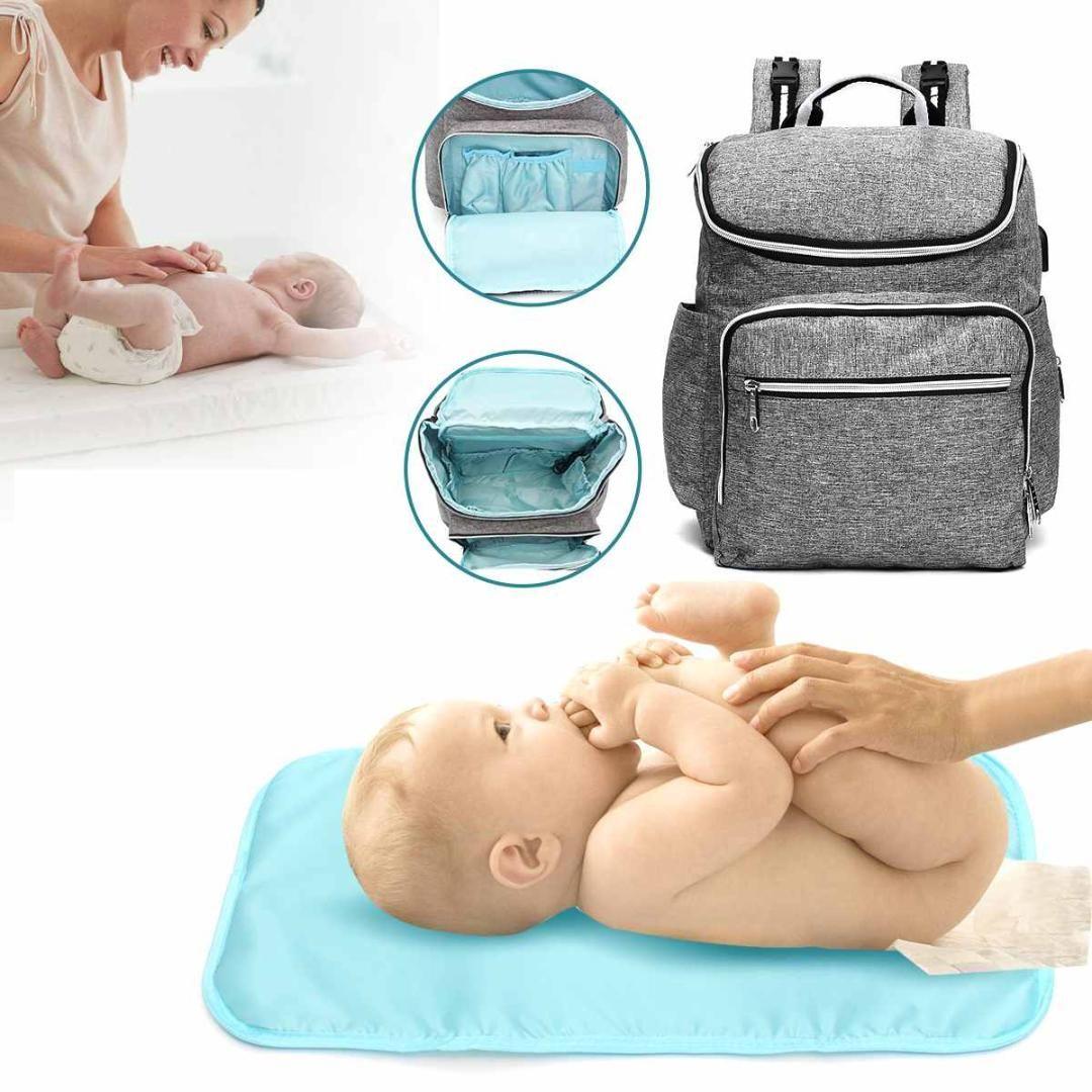 39d7f8613218 MultifunctionLarge Baby Diaper Backpack Mammy Bottle Bag USB Port ...