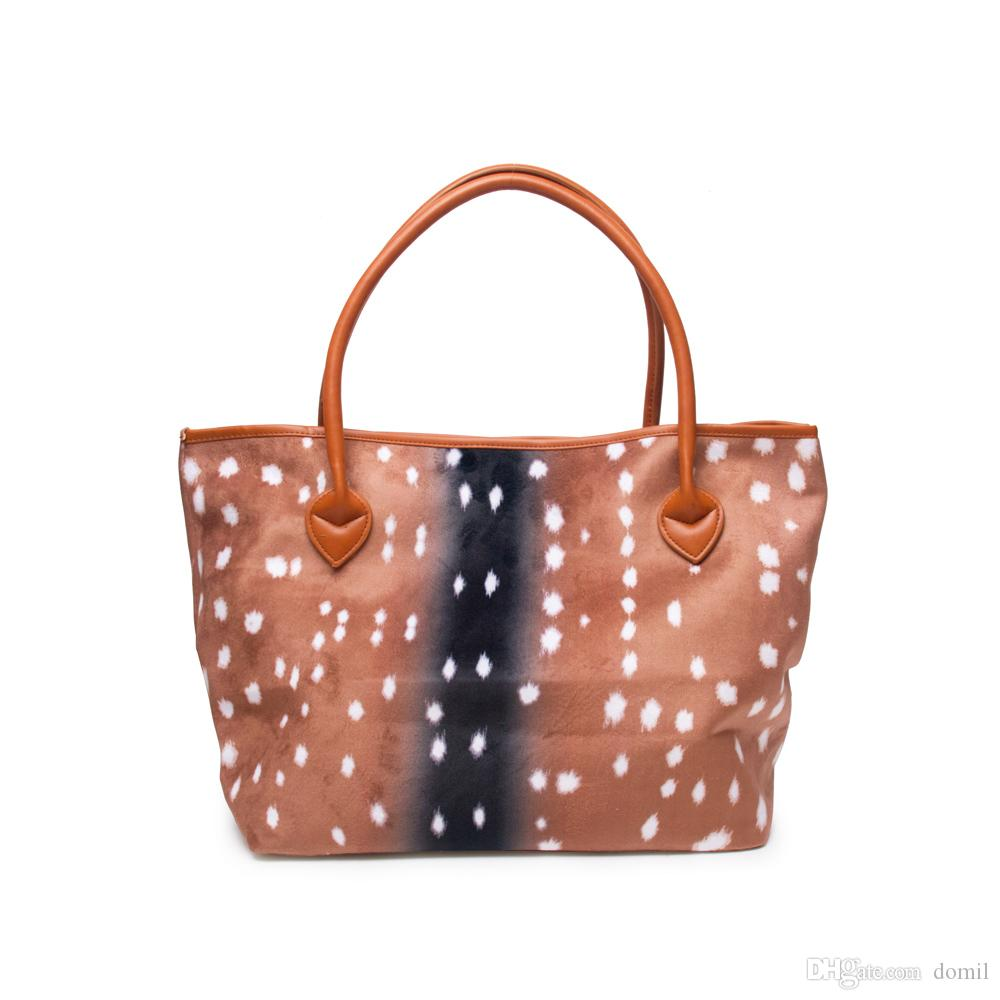 9e6e74e244 35 31 20cm Axis Deer Tote Wholesale Soft Feeling Flannel Deer Skin Purse  Brown Dot Large Capacity Handbag With DOM106684 Black Handbags Luxury Bags  From ...