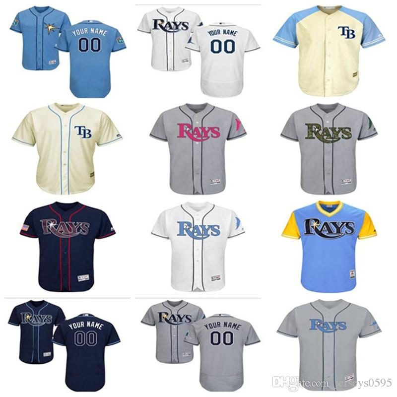 huge selection of 18a06 5f20d 2018 custom Men s women youth Tampa Bay Rays Jersey Any Your name and your  number Home Blue Grey White Kids Girls Baseball Jerseys