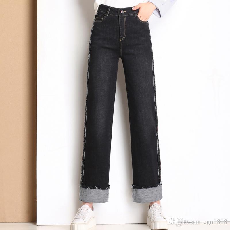 2b6409bdb Compre Pantalones Vaqueros Pantalones Anchos Para Mujer 2018 Otoño E  Invierno