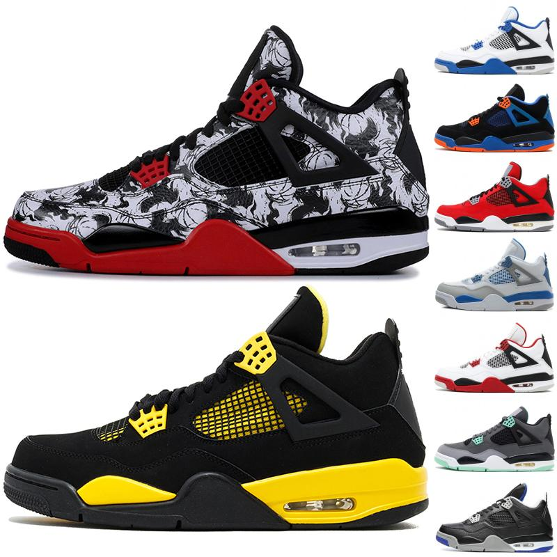 b418ad1ea4e Best Quality 4 4s Men Basketball Shoes Black Cat White Cement Tattoo Game  Royal Thunder Sport Shoes Designer Men Sneakers 36 46 Online Shoes Cheap  Shoes ...