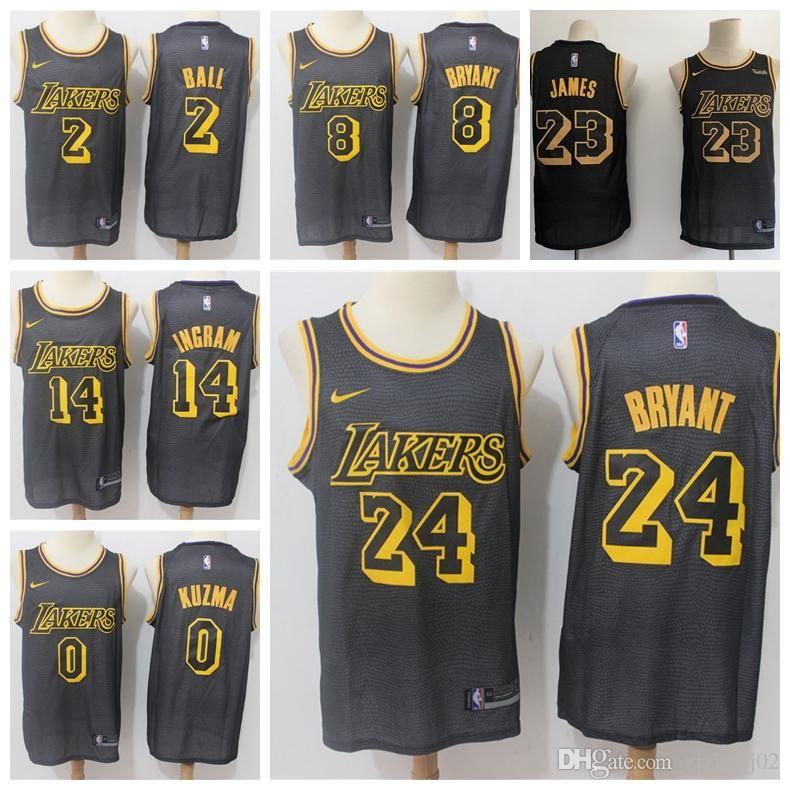 sports shoes cbaf2 60678 2019 23 LeBron James Laker Jersey The City Los Angeles Kobe 24 Lonzo 2 Ball  Kyle 0 Kuzma Brandon 14 Ingram Basketball Jersey NEW Black mark