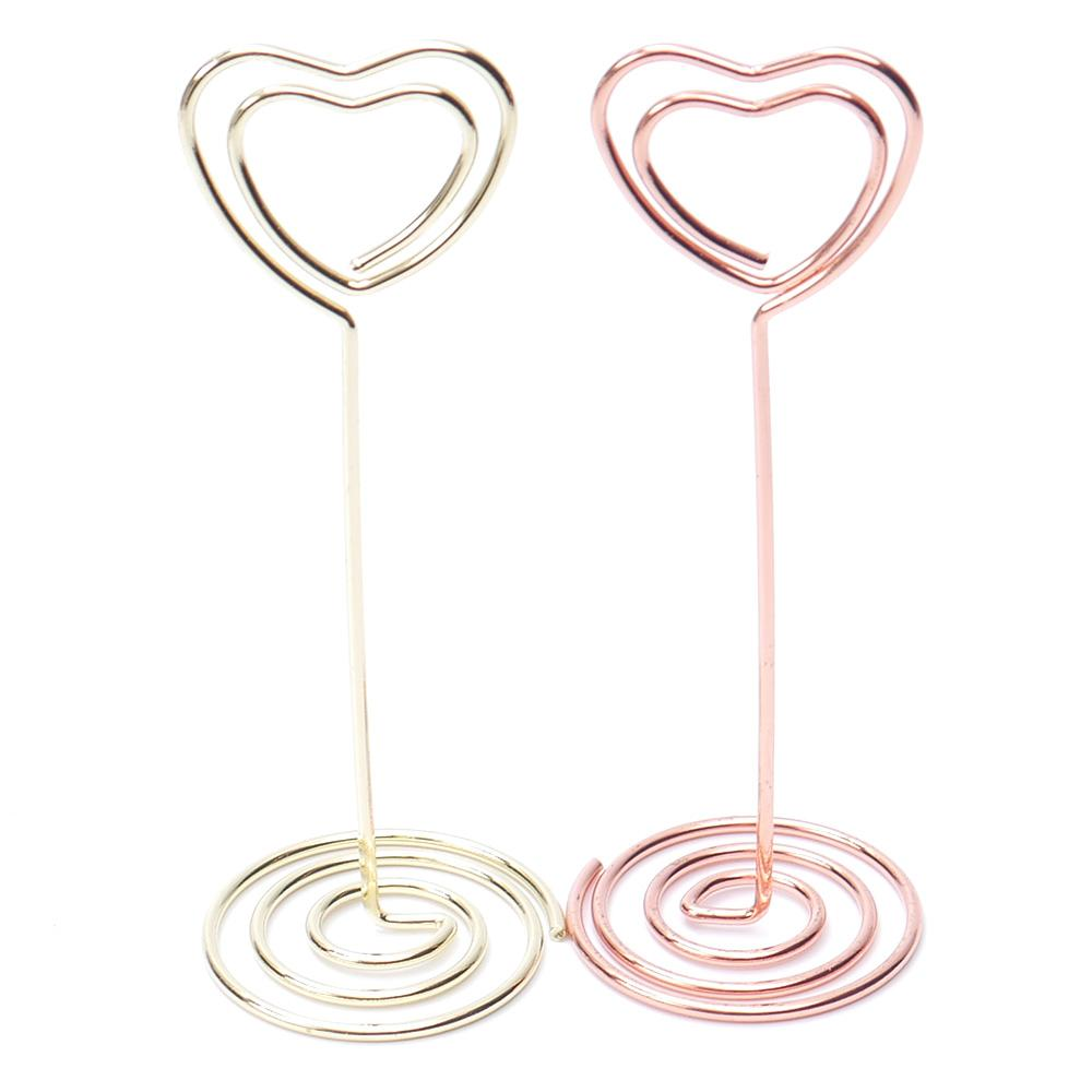 6 pcs Rose Gold Heart Shape Photo Holder Stands Table Number Holders Place Card Paper Menu Clips For Wedding Party Decoration