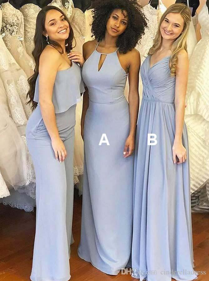 2019 Lavender Chiffon Bridesmaid Dresses Mixed Styles Sleeveless Floor Length Plus Size Maid of Honor Gown BM0199