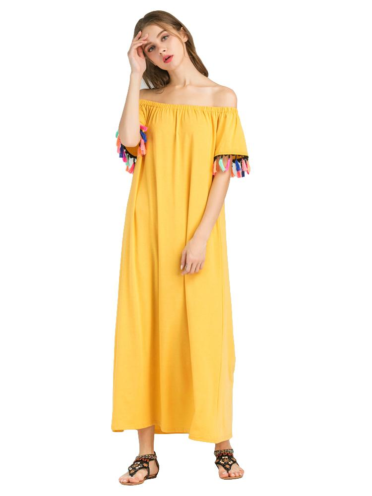 02a8cfabd8fc Sexy Women Off Shoulder Maxi Dress Short Sleeve Colorful Tassels Fringed  Bohemia Dress Solid Loose 2019 Summer Long Beach Dress Black Cocktail Party  Dress ...