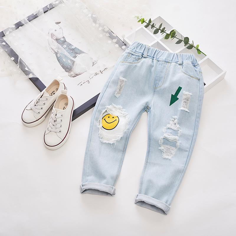 a4039d064 2019 New Autumn Item Girl Smile Hole Pant Boys Kids Girls Leggins Baby Boy  Children Clothes Shorts Cartoon Jean Jeans Colored Jeans For Boys Jeans  Brands ...