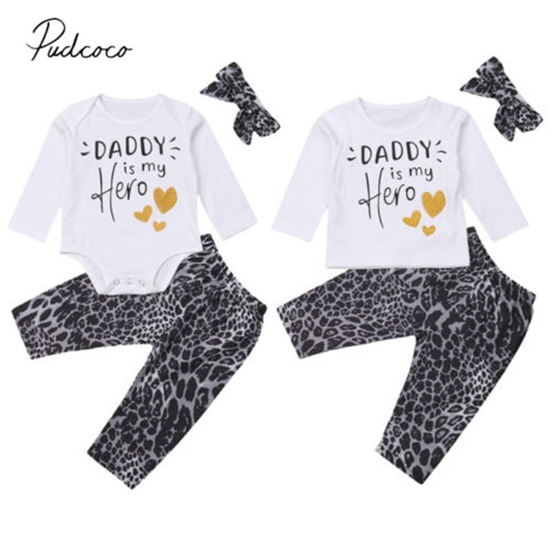 7d098e4ef 2018 Brand New Sister Brother Family Matching Set Baby Boy Girl Clothes  3PCS Letter Tops Romper+ Leopard Pants+Headband Outfits