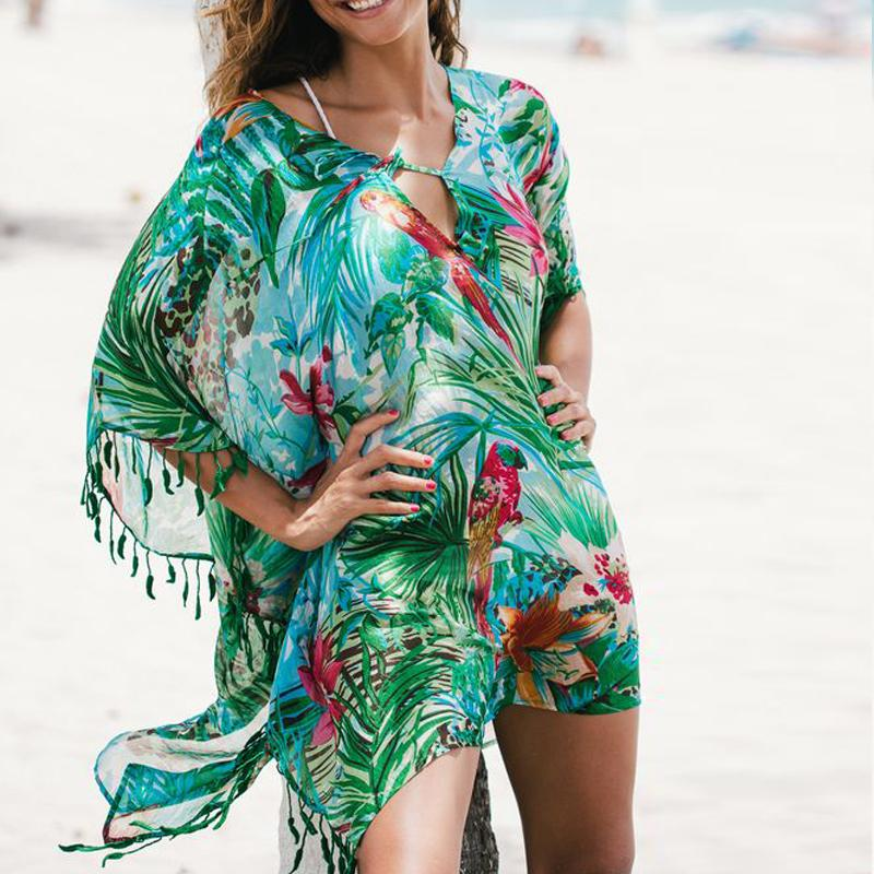 1d2515cd6e72e 2019 New Print Bird Chiffon Beach Cover Up Sarong Swimsuit Cover Up Womens Bathing  Suit Ups Plus Size Swimwear Tunic From Homejewelry