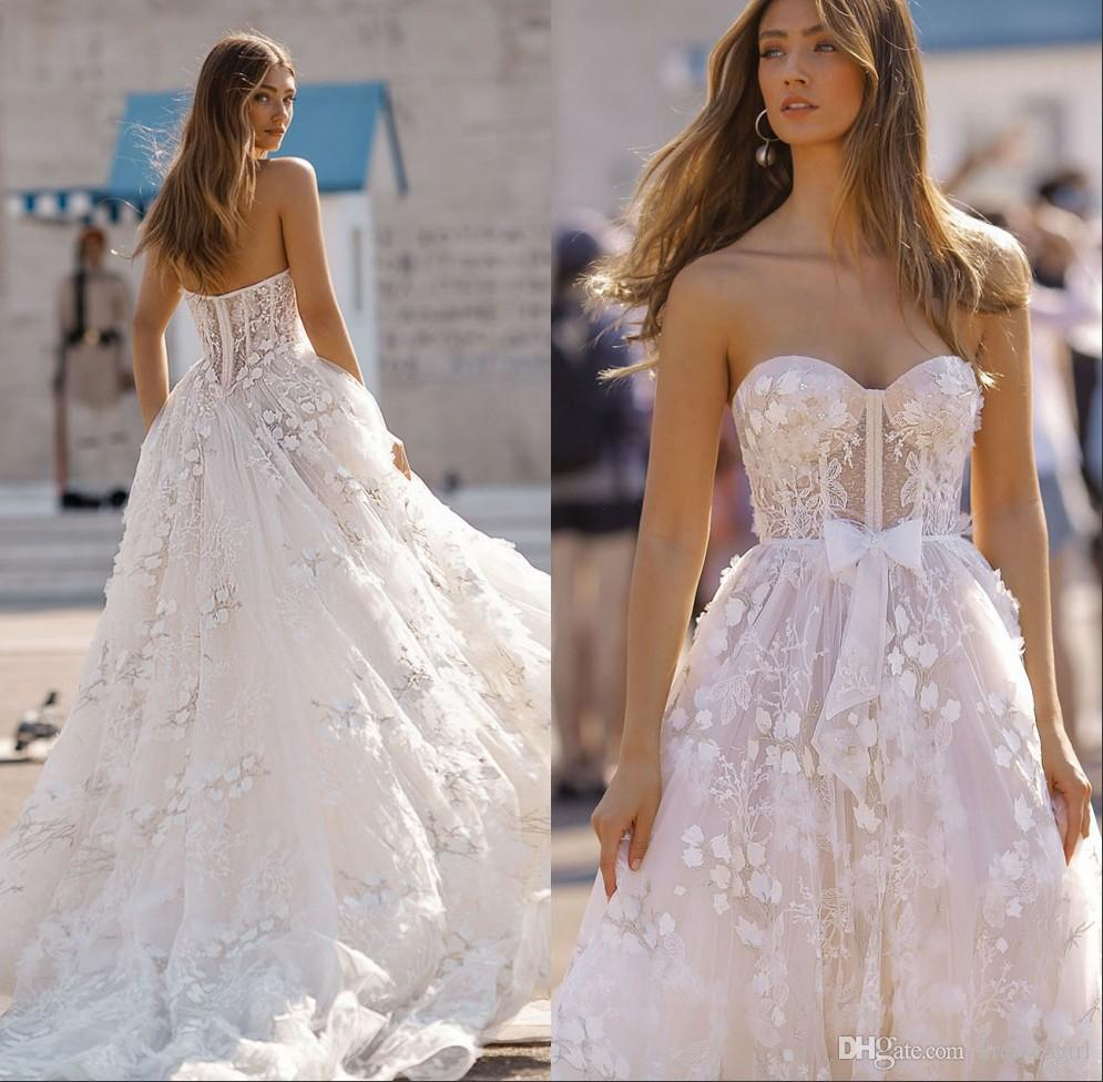 Discount 2019 Floral Lace A Line Wedding Gown Sweetheart Neck Backless Bridal  Gown Bow Sash Sweep Train Vestido De Novia Custom Made Wedding Dresses In  Lace ... 6fa074d56d44