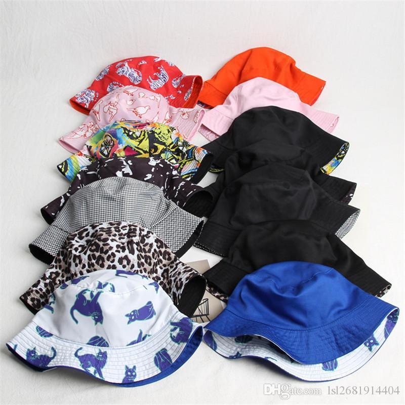 0e38e625353 2018 Cotton Print Two Sides Bucket Hat Fisherman Hat Sun Cap Hats ...