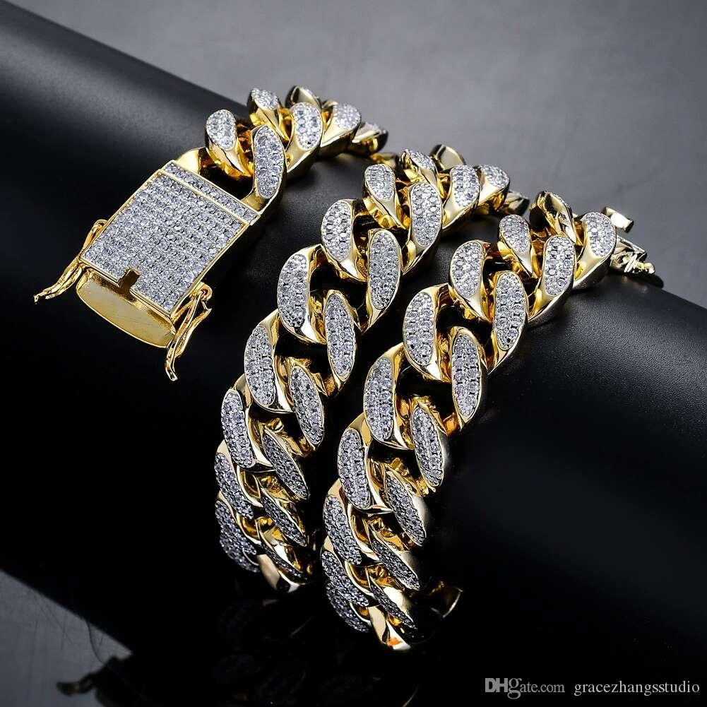 Cuban Link Chain For Sale >> Hip Hop Diamonds Cuban Link Chains For Men Western Hot Sale Real Gold Plated Copper Full Zircons Golden Silver Luxury Chain Necklace