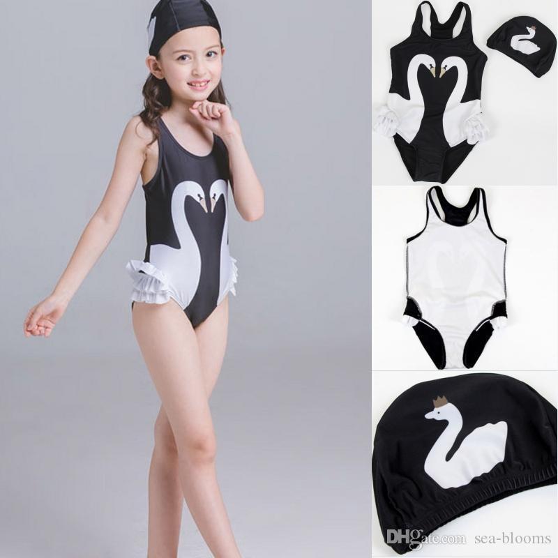 342b78b37221f 2019 Baby One Piece Swimwear Kids Girls Cute Black Swan Pink Flamingo  Parrot Swimsuit Ruffle Bathing Hat Summer Beachwear Free DHL G536F From Sea  Blooms, ...