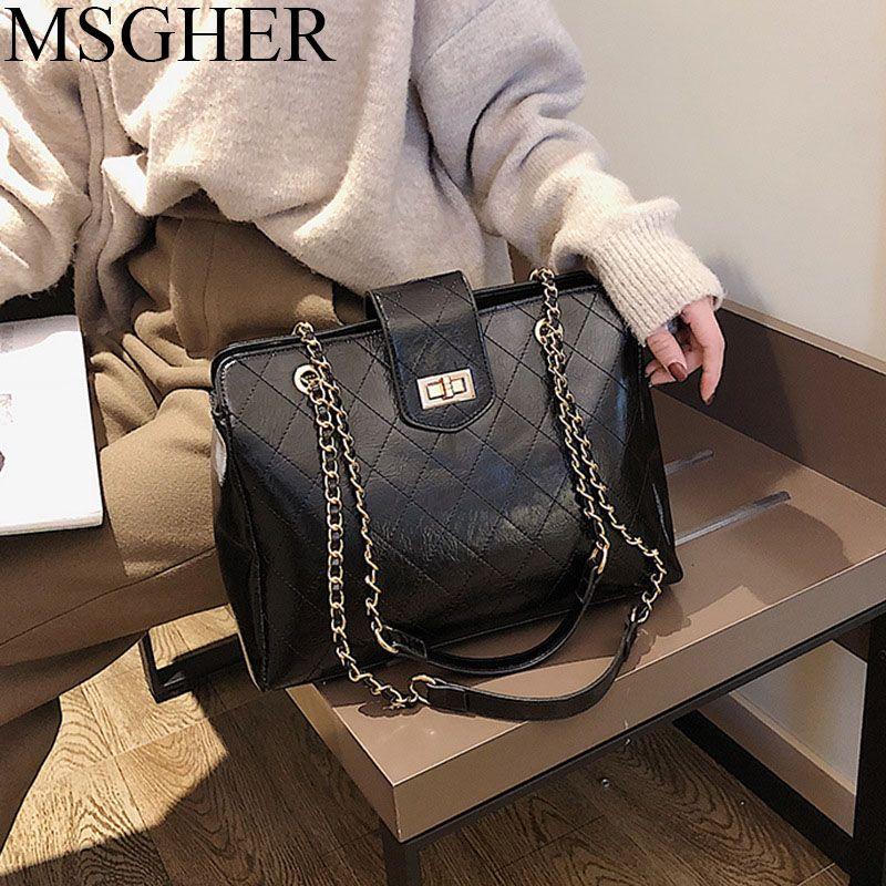 133edba30bb MSGHER Winter Retro Women Large Handbags Shoulder Bag New Quality PU  Leather Bags Women's Designer Handbag Big Tote bag WB1590