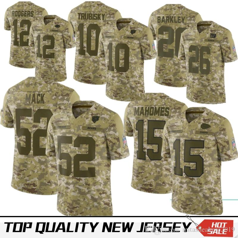 official photos 540f4 352ea Camouflage 52 Khalil Mack Chicago 10 Mitchell Trubisky Bears Jersey Kansas  City 15 Patrick Mahomes Chief 12 Rodgers 26 Barkley 13 Beckham
