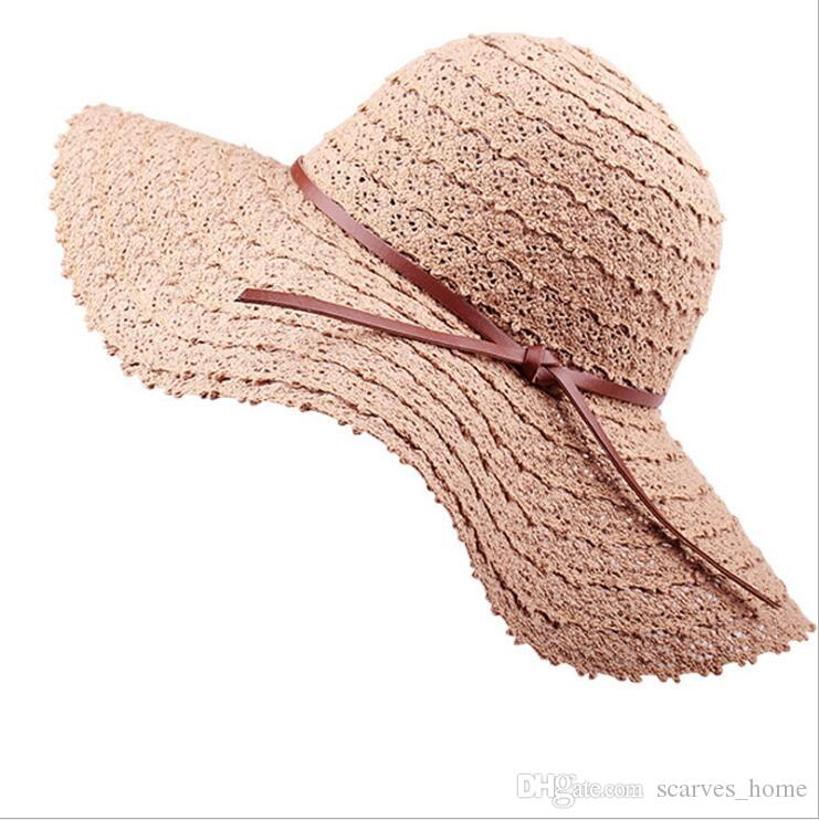 2019 New Bowknot Summer Sunhat For Women S Foldable Wide Large Brim Elegant Sun  Hat Ladies Lace Hollow Straw Beach Caps Floppy Hat Kangol Hats From ... 8f76963f700c