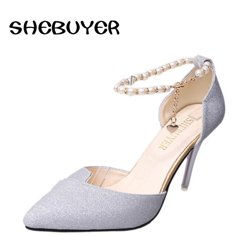 b8b6950d79c Dress Shoes 2019 Summer Elegant Women Thin High Heels Sandals Metal Chain Ankle  Strap Bead Pointed Toe Bling Gold Silver Heels 9.5cm Nude Shoes Womens ...