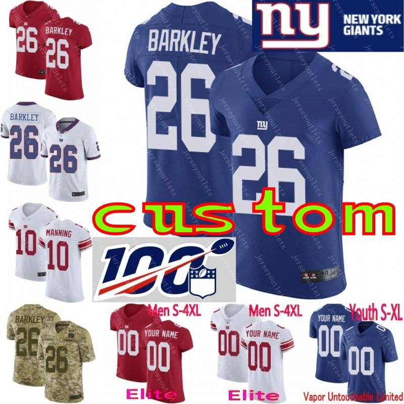 best website 4d572 914b0 100th anniversary custom Men Youth women New York 26 Saquon Barkley Eli  Manning Lawrence Taylor Giants Camo Elite Jersey