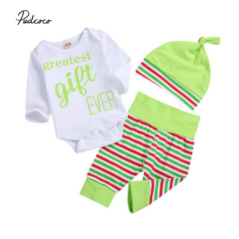b866c162c Baby Boy Girls Clothing Set Long Sleeve Romper Clothes Striped Pants ...