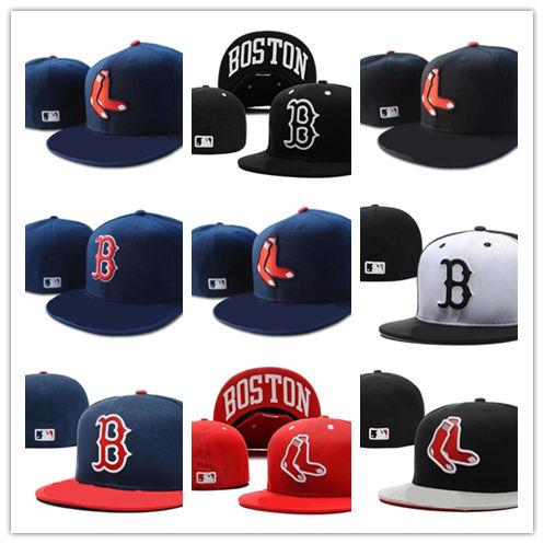 2aaf566ed812a Top Sale New Boston Red Sox In Navy Blue Color Fitted Flat Hats Red B  Letter Embroidered Closed Caps Lids Cap From Hotsuglasses2