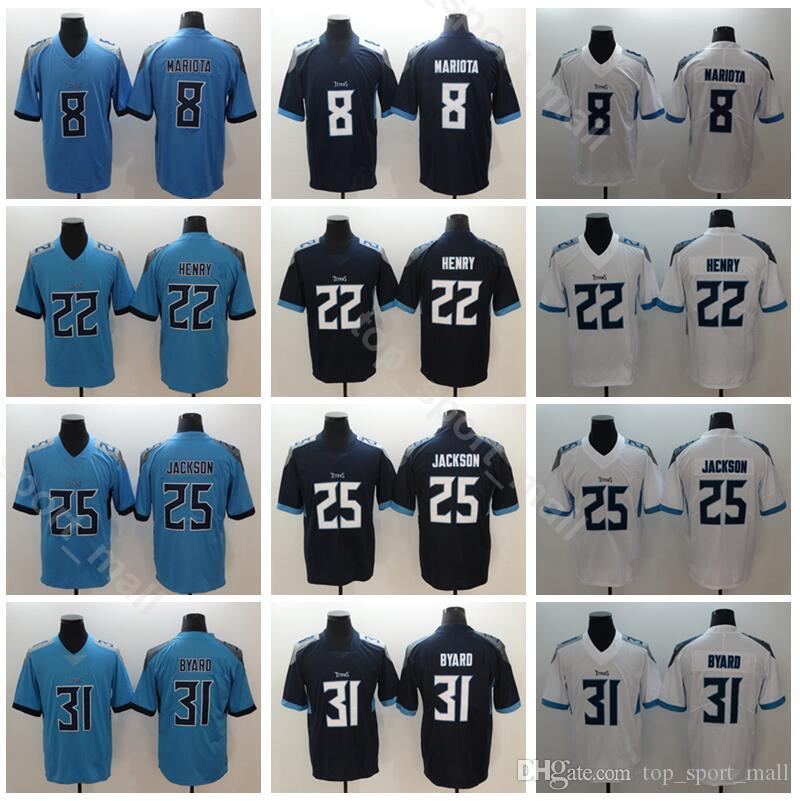 sports shoes 44ec1 2d5c5 Titans Football 22 Derrick Henry Jersey Men 8 Marcus Mariota 25 Adoree  Jackson 31 Kevin Byard Vapor Untouchable Navy Blue White