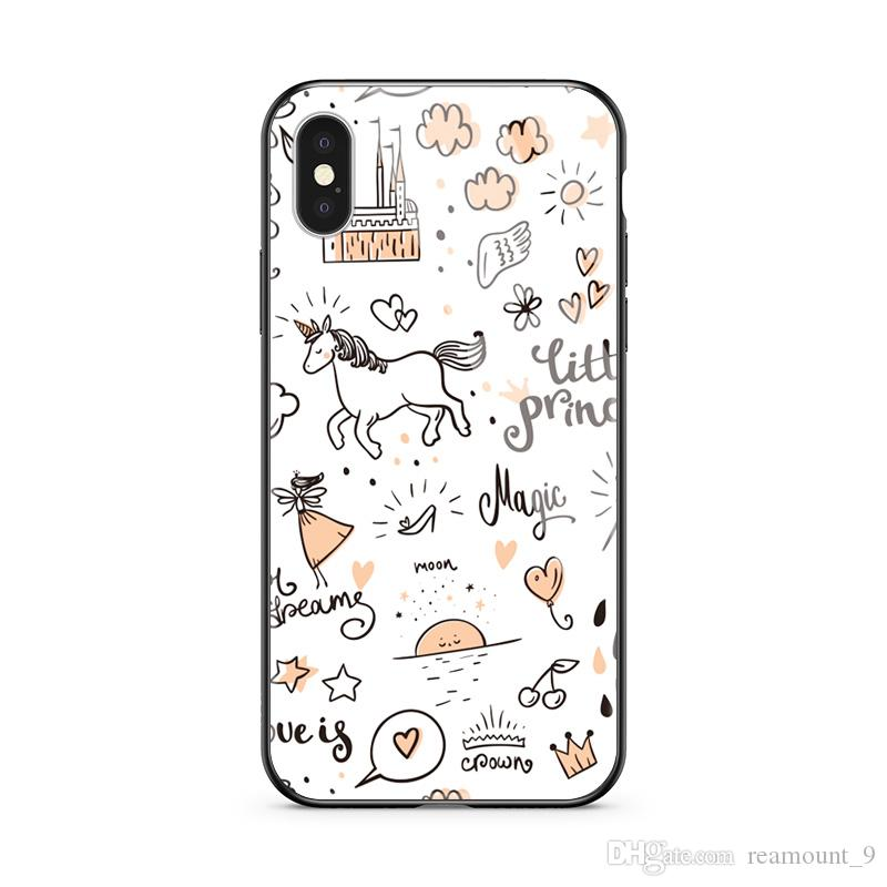Fashion Personalized Your Own Design Printed Tempered Glass Back Phone Case For Iphone 8 Xs Max Full Protection Case