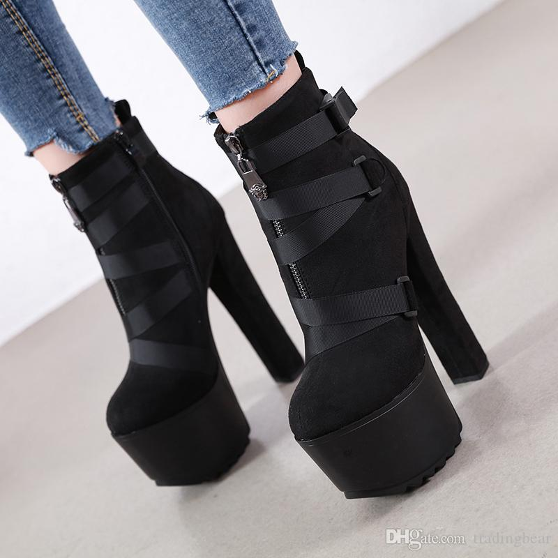 Luxury Designer Women Boots Black PU Leather Big Buckle Platform Thick Heels Knight Boots size 34 to 40