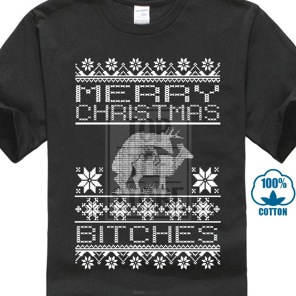 Merry Christmas Bitches Ugly Christmas Men's T Shirt Funny Xmas Tee
