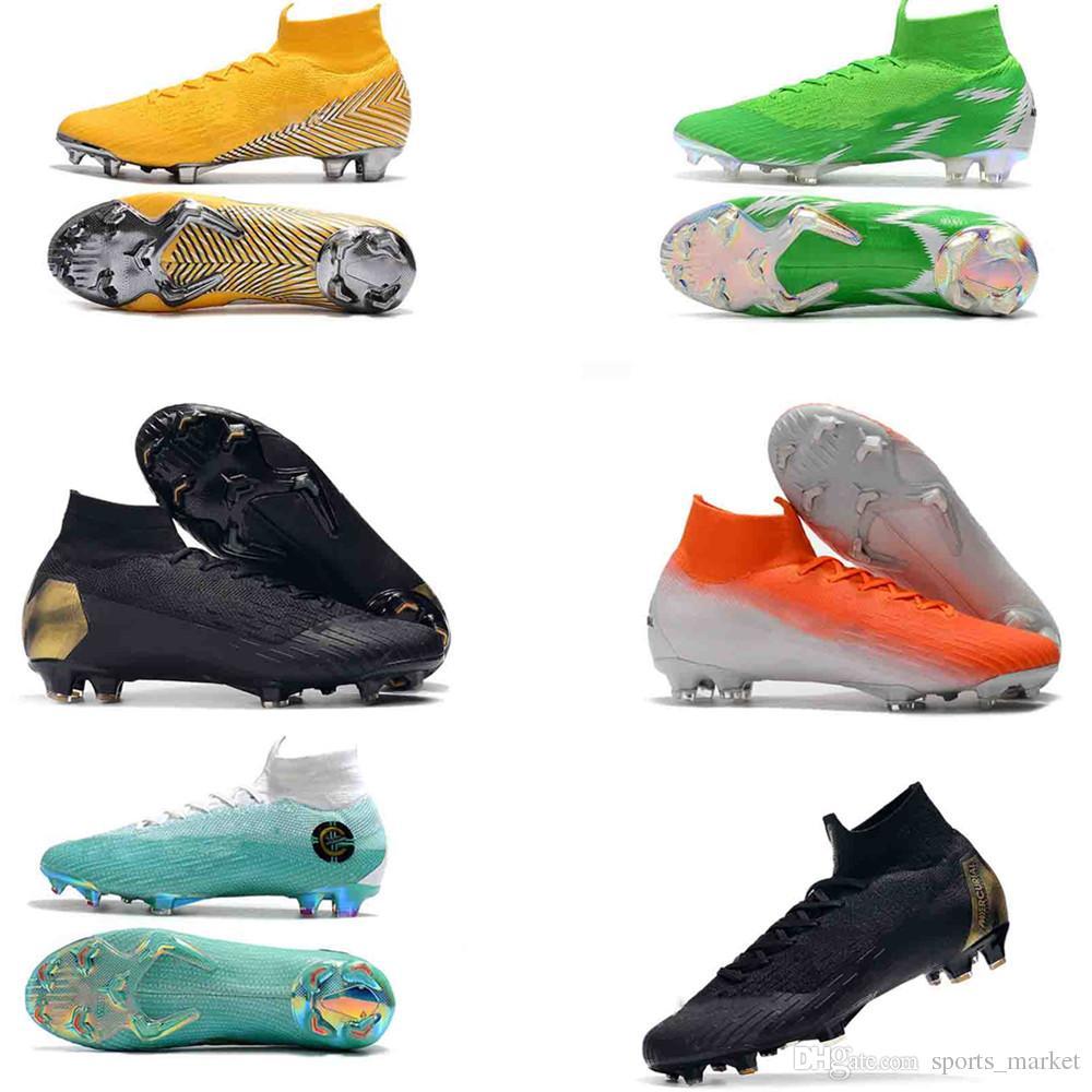 1763cfa70c0 2018 Original Mercurial Superfly VI 360 Elite Neymar FG Soccer Shoes High  Ankle Men Kids SuperflyX KJ XII Ronaldo CR7 Cleats UK 2019 From  Sports market