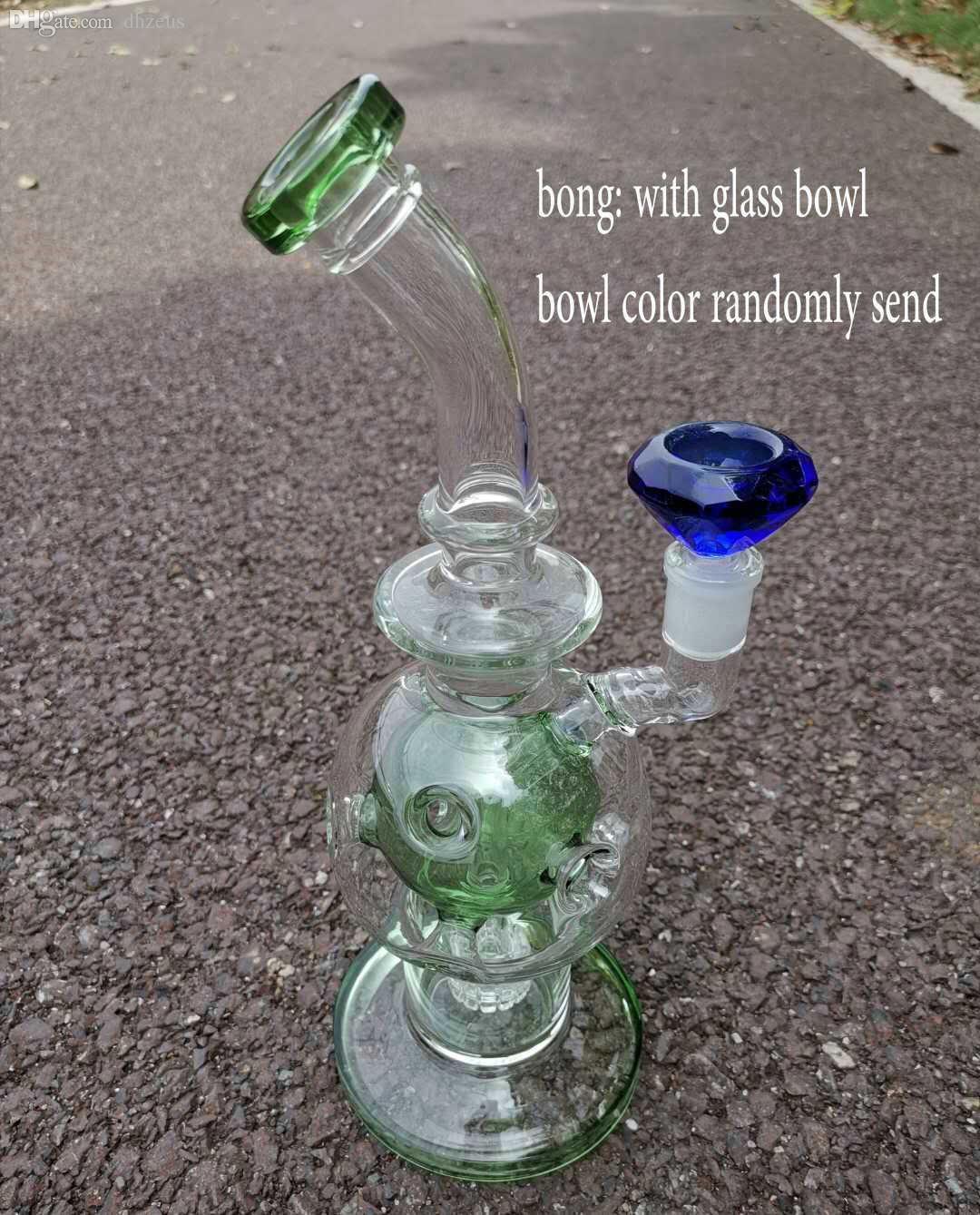Dhzeus shop Fab Egg Glass Beaker Bongs Showerhead Perc Bong 11 Inches Recycler Dab Rig Water Pipes Big Oil Rigs Clear Bubbler Thick Pipe