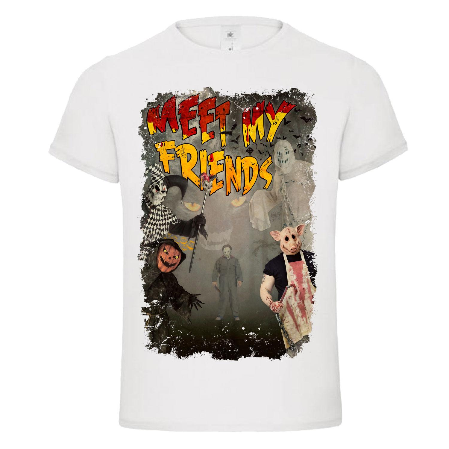 Halloween Friends Shirt.Meet My Friends Halloween Jester Michael Myers Butcher Pig Dtg Mens T Shirt Tee Summer O Neck Tee Free Shipping Cheap Tee 2019 Hot Tees