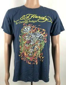 innovative design 8e36e 898b4 Don Ed Hardy Christian Short-Sleevegier T-shirt Tiger Tattoo Fire Flame  Mens Large Blue