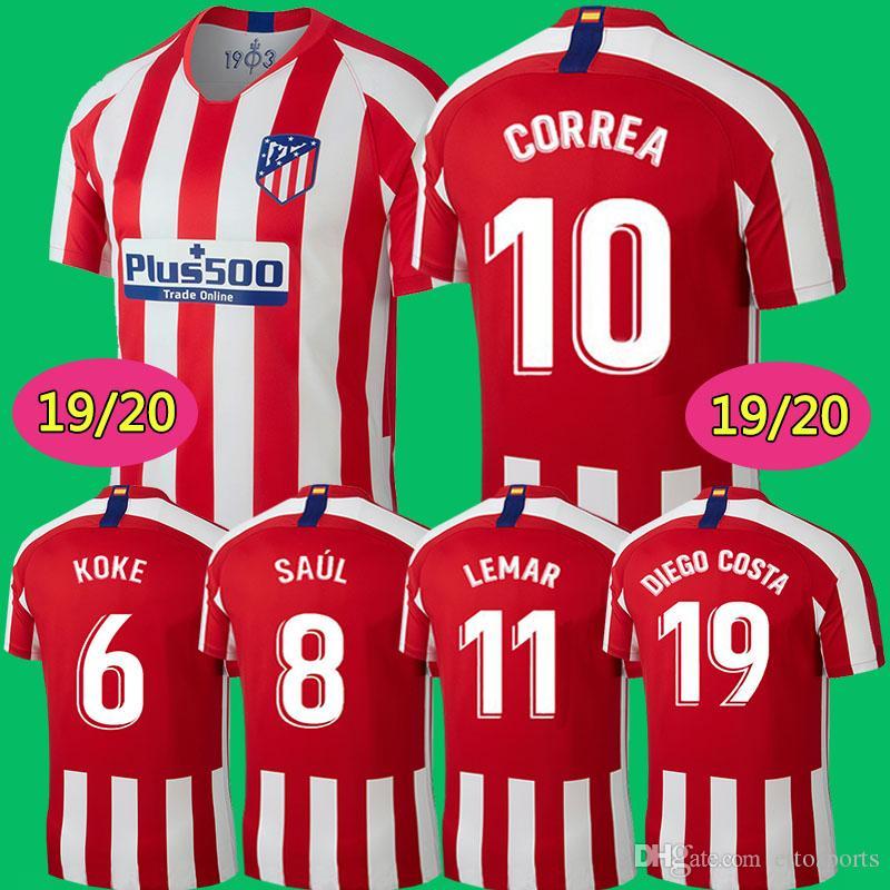 11d093a0d 2019 Custom 19 20 Madrid Atletico Soccer Jersey GRIEZMANN Correa Lucas  Costa Koke Saul Godin Luis Gimenez 2019 Kids Kits Women Men Football Shirt  From ...