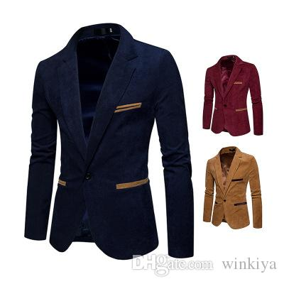 Corduroy Men Designer Blazers 2019 Casual Blazers and Jackets Luxury Office Jacket Nuevo Mens Designer Winter Blazer