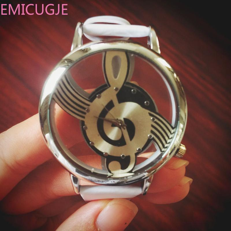 Note Painting Leather Bracelet Lady Simple Casual Women Watches Wrist Watches Engraving Hollow Stylish Musical