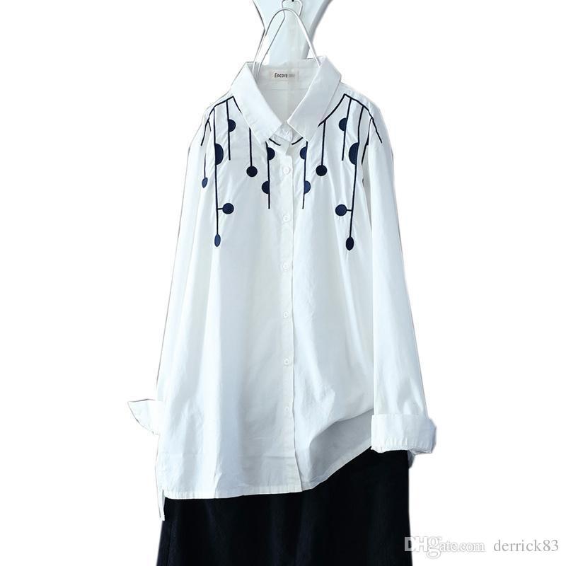 b09f09d7b849 Bordado Color blanco Cómoda Camisa corta vintage Camisetas irregulares Tops  casuales para mujer Yalabovso 2018 Primavera A74-A001 Z15
